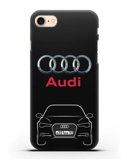 Чехол Audi A6 с номерным знаком силикон черный для iPhone 8