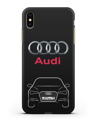 Чехол Audi A6 с номерным знаком силикон черный для iPhone XS Max