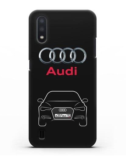 Чехол Audi A6 с номерным знаком силикон черный для Samsung Galaxy A01 [SM-A015F]