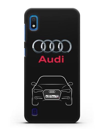 Чехол Audi A6 с номерным знаком силикон черный для Samsung Galaxy A10 [SM-A105F]