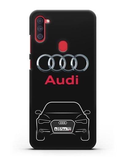 Чехол Audi A6 с номерным знаком силикон черный для Samsung Galaxy A11 [SM-A115F]