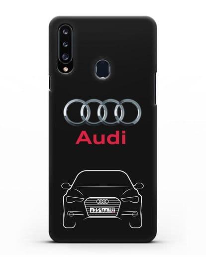 Чехол Audi A6 с номерным знаком силикон черный для Samsung Galaxy A20s [SM-A207FN]