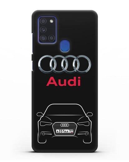 Чехол Audi A6 с номерным знаком силикон черный для Samsung Galaxy A21s [SM-A217F]