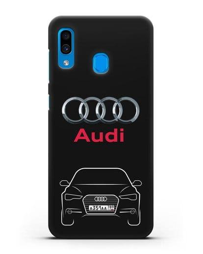 Чехол Audi A6 с номерным знаком силикон черный для Samsung Galaxy A30 [SM-A305FN]