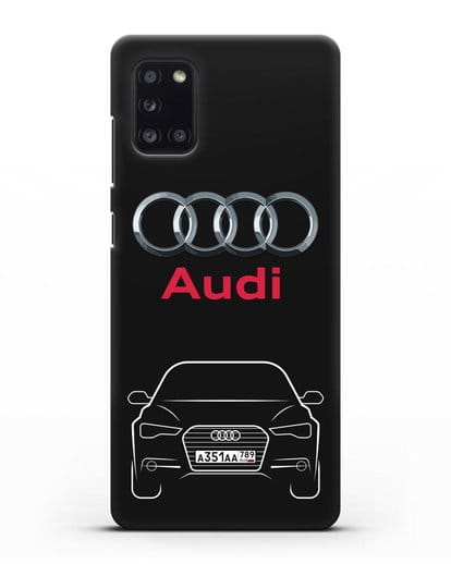 Чехол Audi A6 с номерным знаком силикон черный для Samsung Galaxy A31 [SM-A315F]