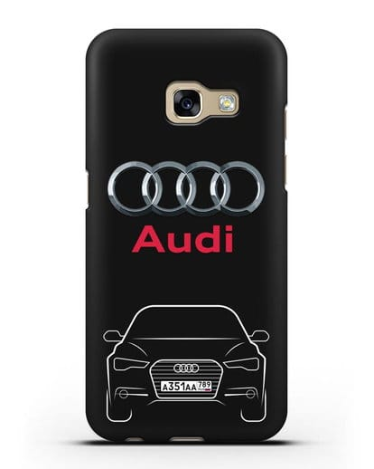 Чехол Audi A6 с номерным знаком силикон черный для Samsung Galaxy A3 2017 [SM-A320F]