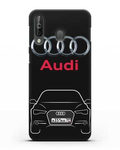 Чехол Audi A6 с номерным знаком силикон черный для Samsung Galaxy A40s [SM-A507FN]