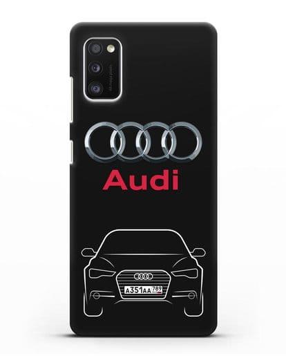 Чехол Audi A6 с номерным знаком силикон черный для Samsung Galaxy A41 [SM-A415F]