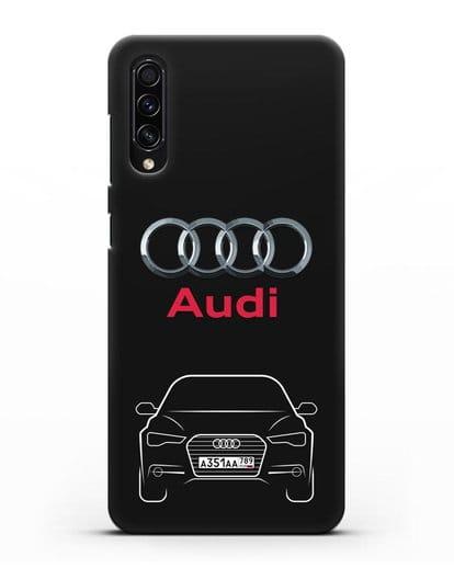 Чехол Audi A6 с номерным знаком силикон черный для Samsung Galaxy A50s [SM-F507FN]
