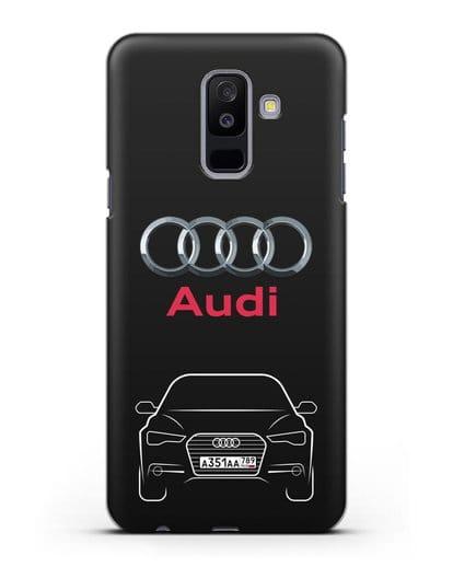 Чехол Audi A6 с номерным знаком силикон черный для Samsung Galaxy A6 Plus 2018 [SM-A605F]