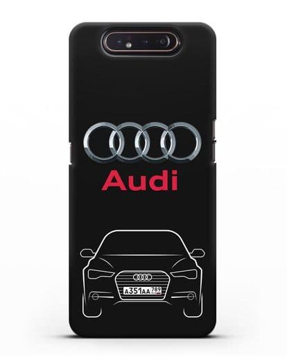 Чехол Audi A6 с номерным знаком силикон черный для Samsung Galaxy A80 [SM-A805F]