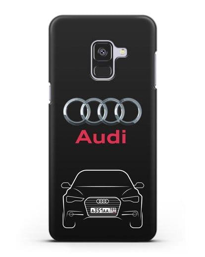 Чехол Audi A6 с номерным знаком силикон черный для Samsung Galaxy A8 Plus [SM-A730F]