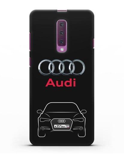 Чехол Audi A6 с номерным знаком силикон черный для Samsung Galaxy A90 [SM-A908N]