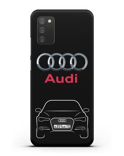 Чехол Audi A6 с номерным знаком силикон черный для Samsung Galaxy A02s [SM-A025F]