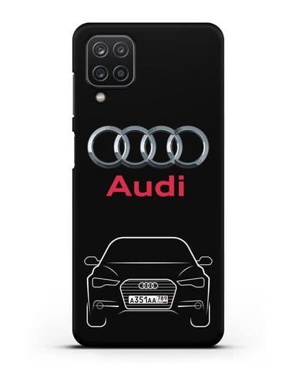 Чехол Audi A6 с номерным знаком силикон черный для Samsung Galaxy A12 [SM-A125F]
