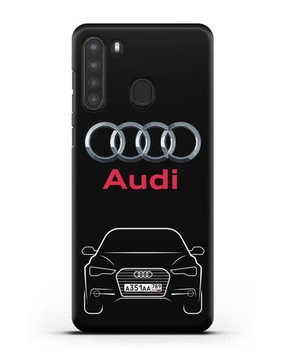 Чехол Audi A6 с номерным знаком силикон черный для Samsung Galaxy A21 [SM-A215]