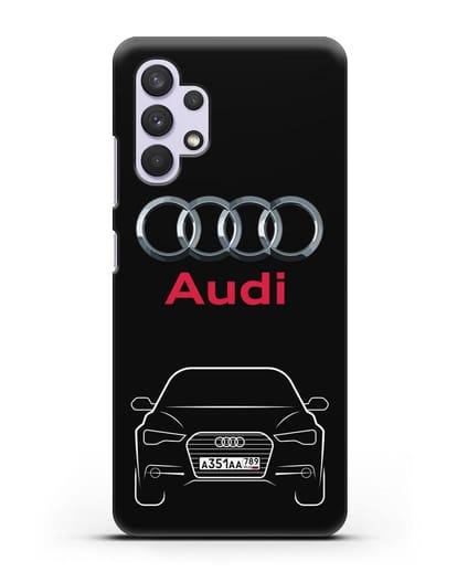 Чехол Audi A6 с номерным знаком силикон черный для Samsung Galaxy A32 5G [SM-A326B]