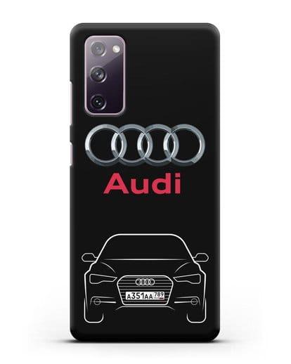 Чехол Audi A6 с номерным знаком силикон черный для Samsung Galaxy S20 FE [SM-G780F]