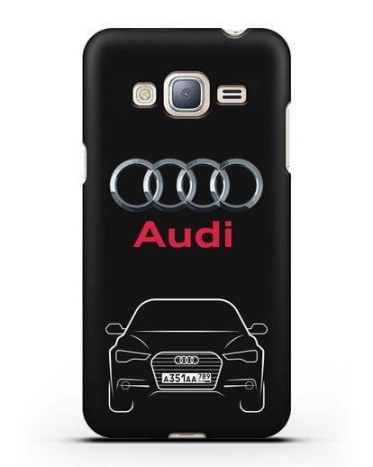 Чехол Audi A6 с номерным знаком силикон черный для Samsung Galaxy J3 2016 [SM-J320F]