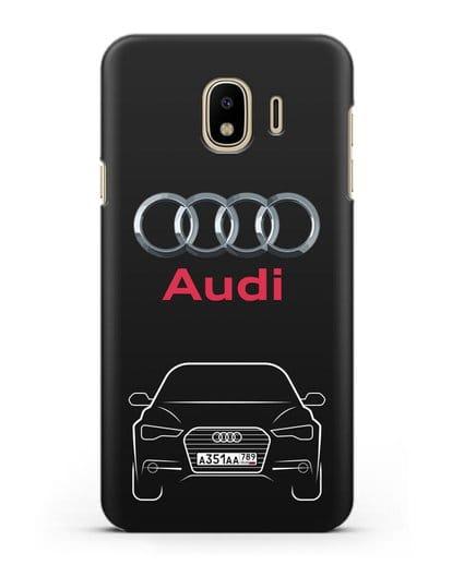 Чехол Audi A6 с номерным знаком силикон черный для Samsung Galaxy J4 2018 [SM-J400F]