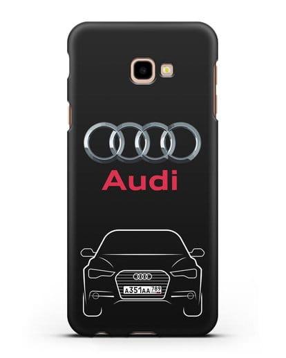 Чехол Audi A6 с номерным знаком силикон черный для Samsung Galaxy J4 Plus [SM-J415]