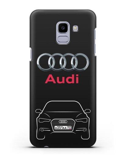 Чехол Audi A6 с номерным знаком силикон черный для Samsung Galaxy J6 2018 [SM-J600F]