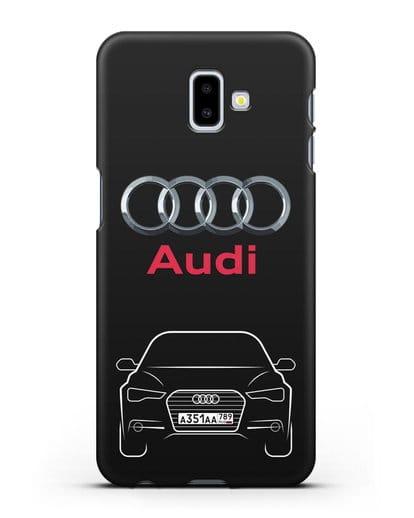 Чехол Audi A6 с номерным знаком силикон черный для Samsung Galaxy J6 Plus [SM-J610F]