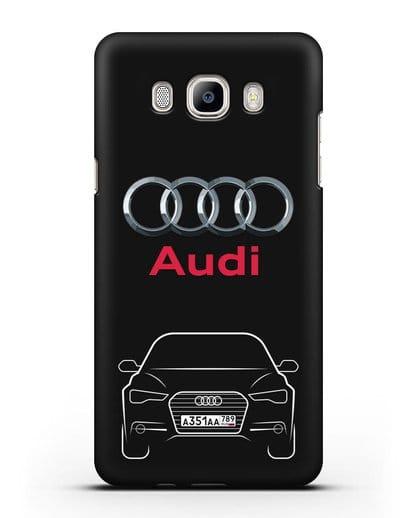 Чехол Audi A6 с номерным знаком силикон черный для Samsung Galaxy J7 2016 [SM-J710F]