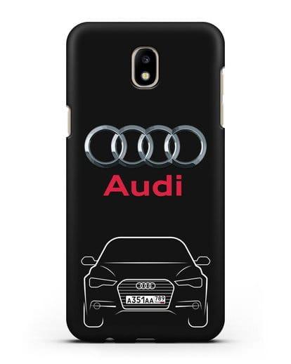 Чехол Audi A6 с номерным знаком силикон черный для Samsung Galaxy J7 2017 [SM-J720F]