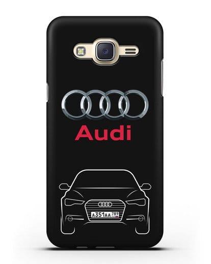 Чехол Audi A6 с номерным знаком силикон черный для Samsung Galaxy J7 Neo [SM-J701F]