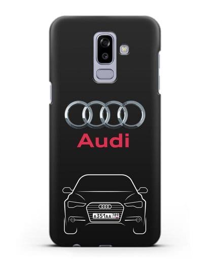 Чехол Audi A6 с номерным знаком силикон черный для Samsung Galaxy J8 2018 [SM-J810F]