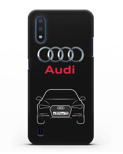 Чехол Audi A6 с номерным знаком силикон черный для Samsung Galaxy M01 [SM-M015F]