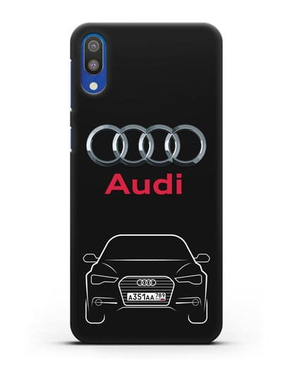 Чехол Audi A6 с номерным знаком силикон черный для Samsung Galaxy M10 [SM-M105F]
