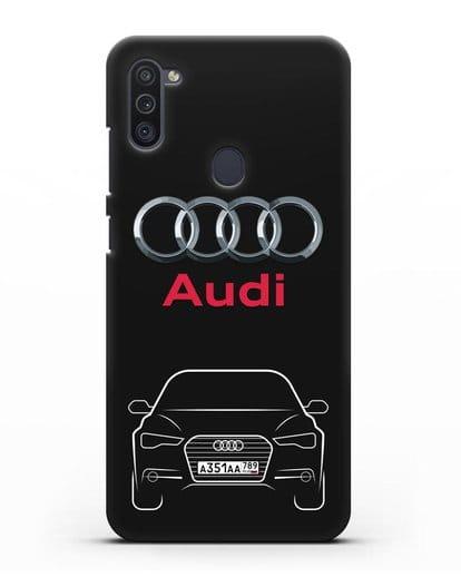Чехол Audi A6 с номерным знаком силикон черный для Samsung Galaxy M11 [SM-M115F]