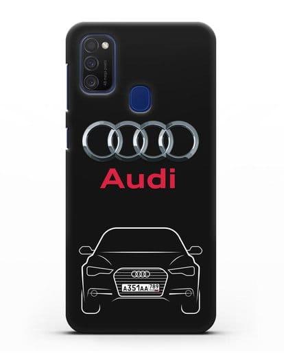 Чехол Audi A6 с номерным знаком силикон черный для Samsung Galaxy M21 [SM-M215F]