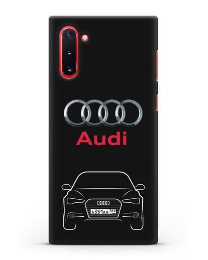 Чехол Audi A6 с номерным знаком силикон черный для Samsung Galaxy Note 10 [N970F]
