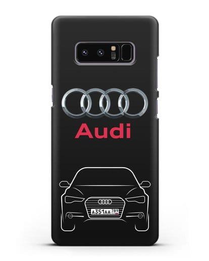 Чехол Audi A6 с номерным знаком силикон черный для Samsung Galaxy Note 8 [N950F]