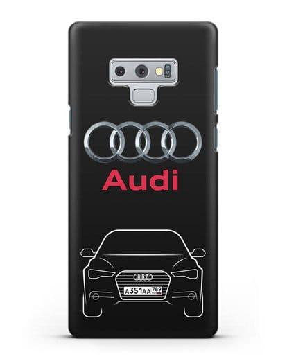 Чехол Audi A6 с номерным знаком силикон черный для Samsung Galaxy Note 9 [N960F]