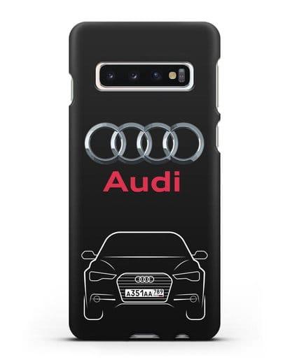 Чехол Audi A6 с номерным знаком силикон черный для Samsung Galaxy S10 Plus [SM-G975F]