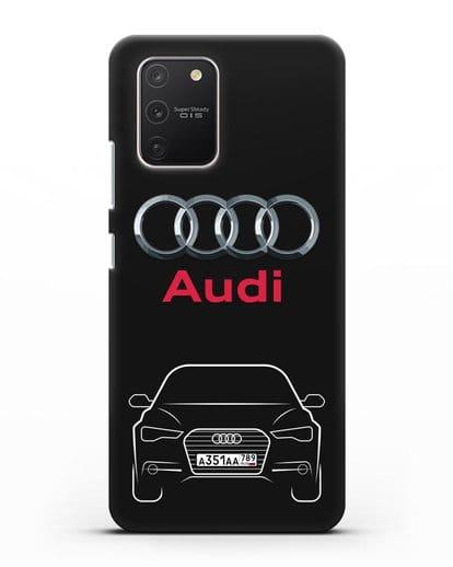 Чехол Audi A6 с номерным знаком силикон черный для Samsung Galaxy S10 lite [SM-G770F]