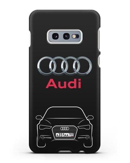 Чехол Audi A6 с номерным знаком силикон черный для Samsung Galaxy S10e [SM-G970F]