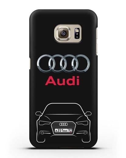 Чехол Audi A6 с номерным знаком силикон черный для Samsung Galaxy S6 Edge [SM-G925F]