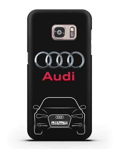 Чехол Audi A6 с номерным знаком силикон черный для Samsung Galaxy S7 [SM-G930F]