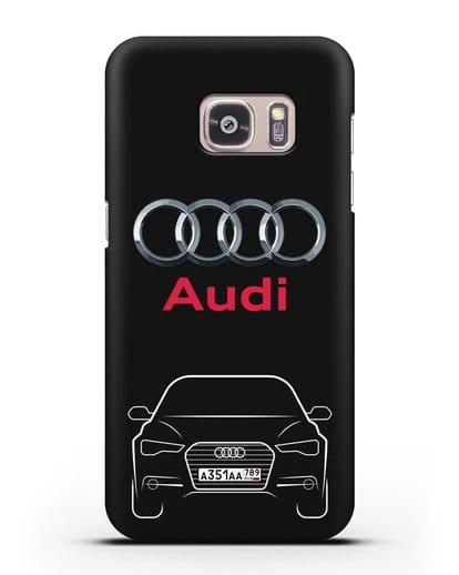 Чехол Audi A6 с номерным знаком силикон черный для Samsung Galaxy S7 Edge [SM-G935F]