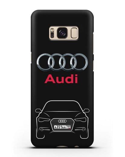 Чехол Audi A6 с номерным знаком силикон черный для Samsung Galaxy S8 Plus [SM-G955F]