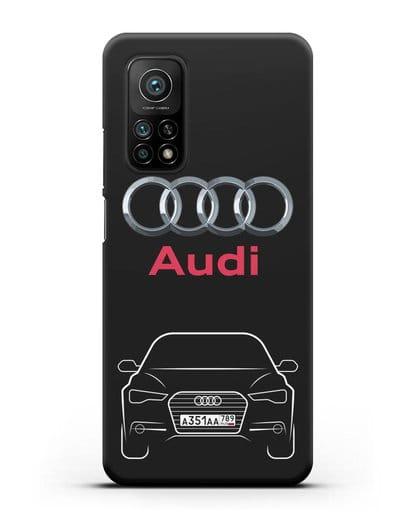 Чехол Audi A6 с номерным знаком силикон черный для Xiaomi Mi 10t Pro