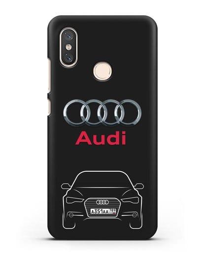 Чехол Audi A6 с номерным знаком силикон черный для Xiaomi Mi 8