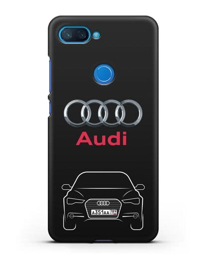 Чехол Audi A6 с номерным знаком силикон черный для Xiaomi Mi 8 Lite