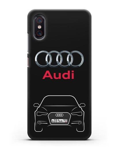 Чехол Audi A6 с номерным знаком силикон черный для Xiaomi Mi 8 Pro
