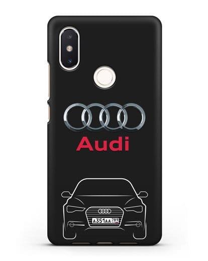 Чехол Audi A6 с номерным знаком силикон черный для Xiaomi Mi 8 SE
